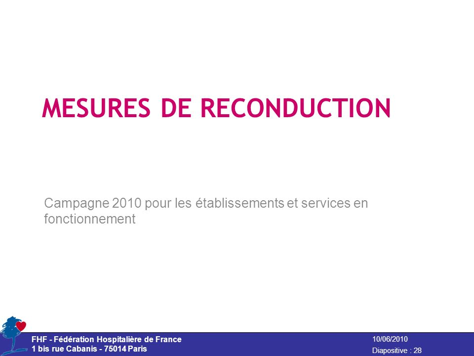 MESURES DE RECONDUCTION