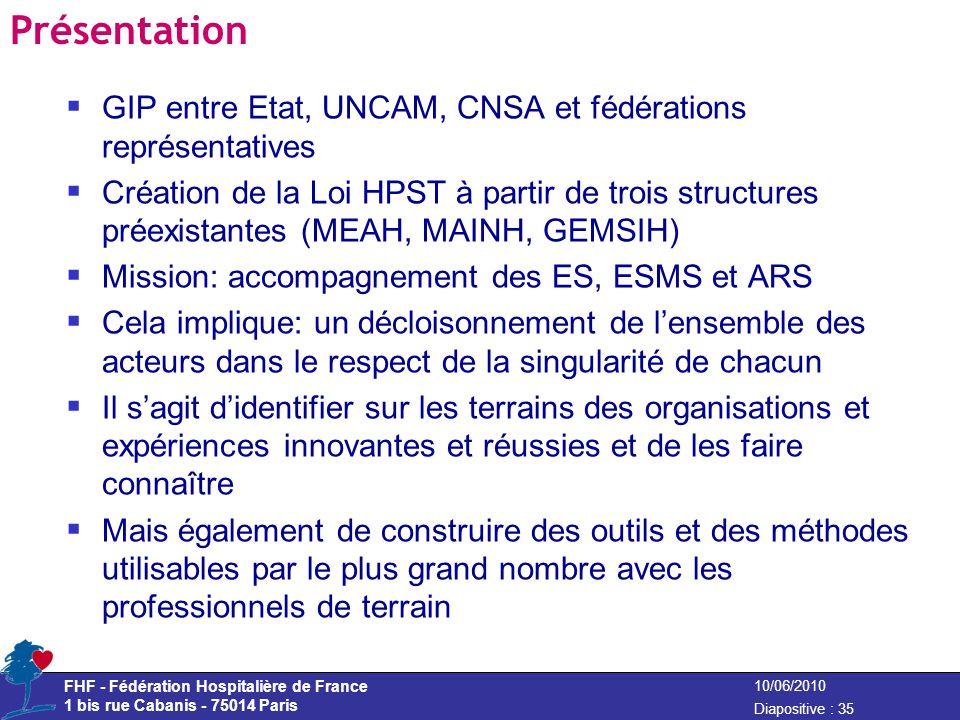 Présentation GIP entre Etat, UNCAM, CNSA et fédérations représentatives.