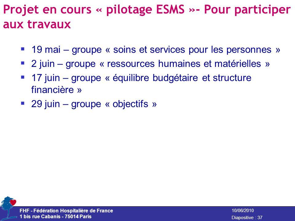 Projet en cours « pilotage ESMS »- Pour participer aux travaux