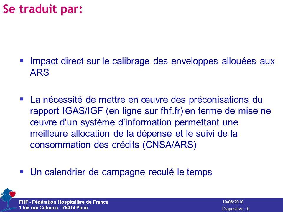 Se traduit par: Impact direct sur le calibrage des enveloppes allouées aux ARS.