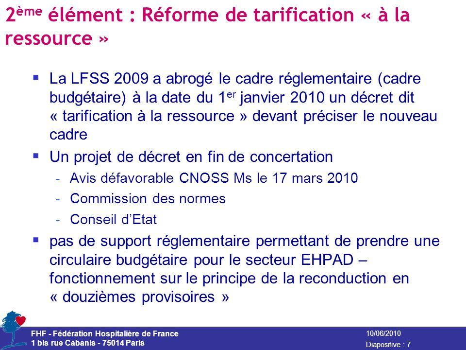 2ème élément : Réforme de tarification « à la ressource »