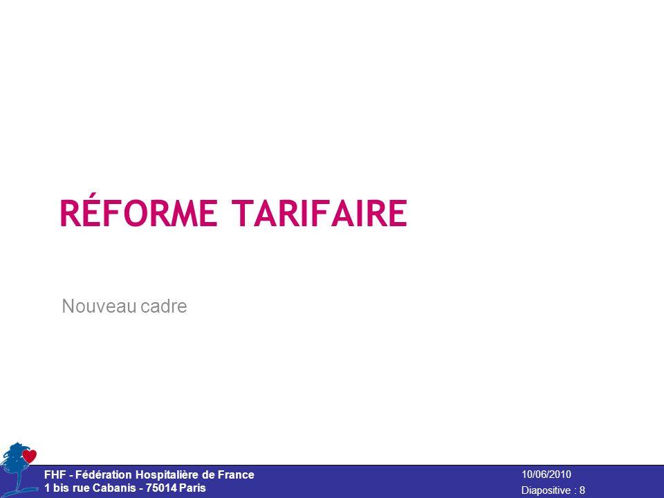 Nouveau cadre RÉFORME TARIFAIRE