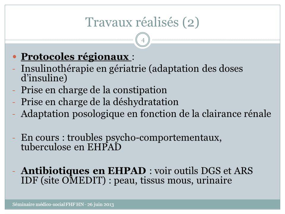 Travaux réalisés (2) Protocoles régionaux :
