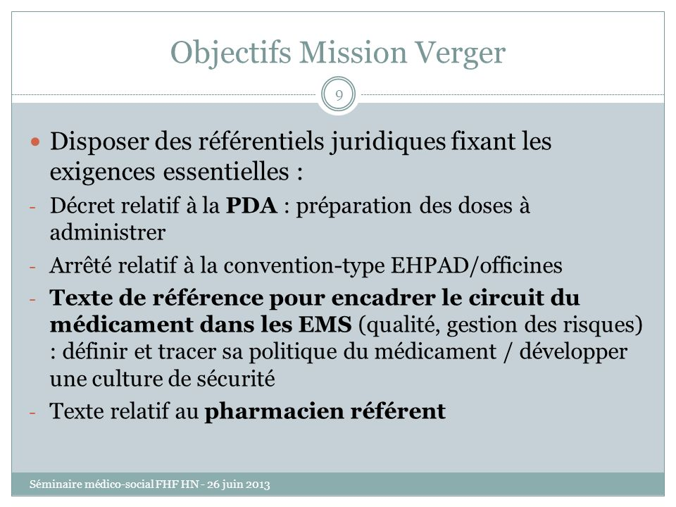 Objectifs Mission Verger