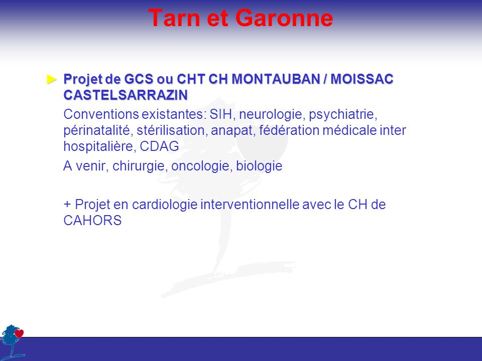 Tarn et GaronneProjet de GCS ou CHT CH MONTAUBAN / MOISSAC CASTELSARRAZIN.