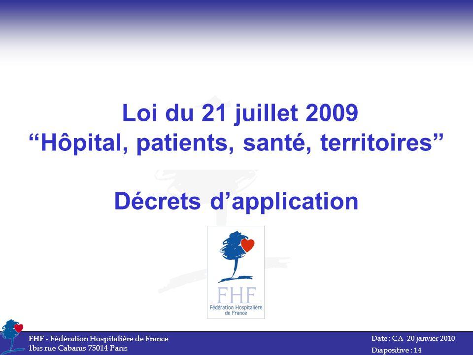 Loi du 21 juillet 2009 Hôpital, patients, santé, territoires Décrets d'application