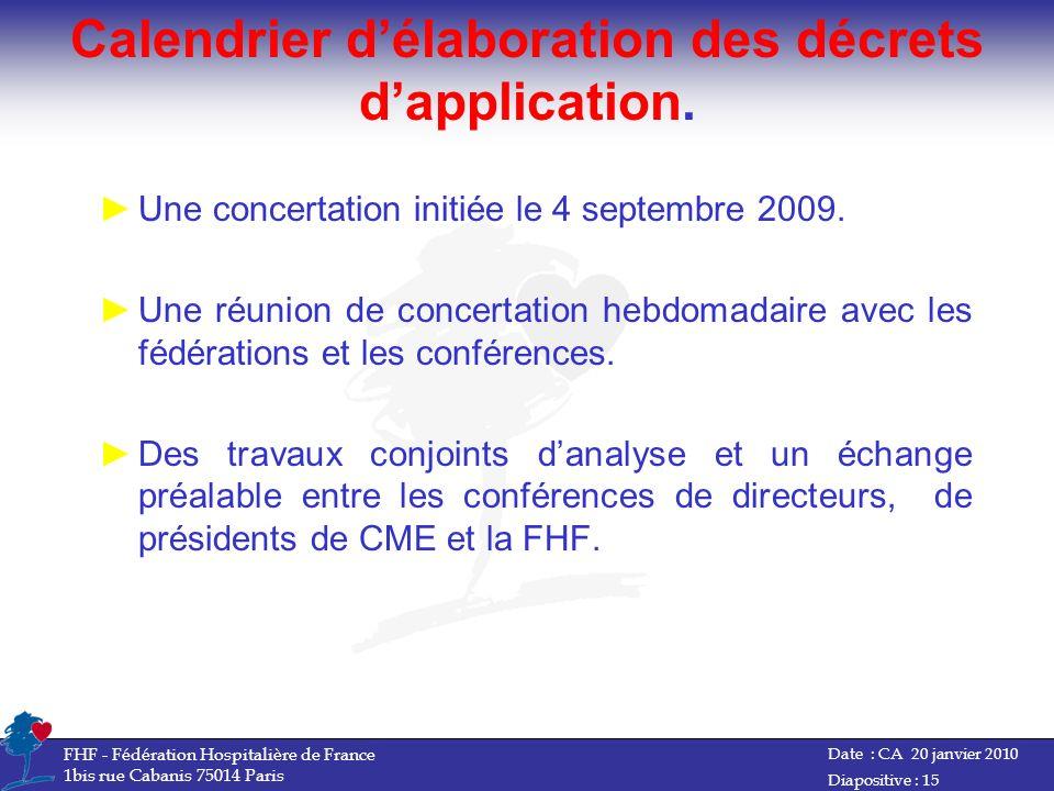 Calendrier d'élaboration des décrets d'application.