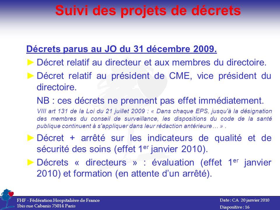 Suivi des projets de décrets