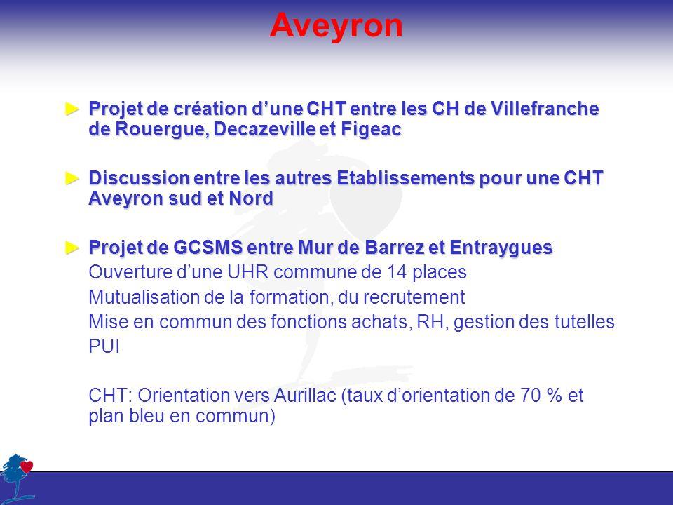 AveyronProjet de création d'une CHT entre les CH de Villefranche de Rouergue, Decazeville et Figeac.