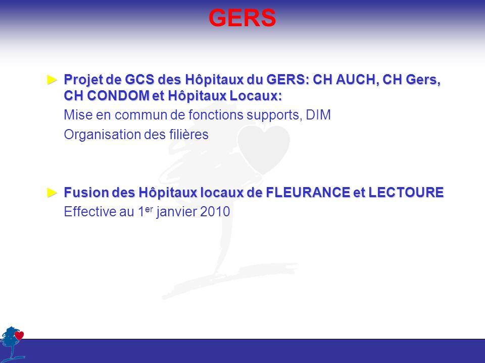 GERS Projet de GCS des Hôpitaux du GERS: CH AUCH, CH Gers, CH CONDOM et Hôpitaux Locaux: Mise en commun de fonctions supports, DIM.