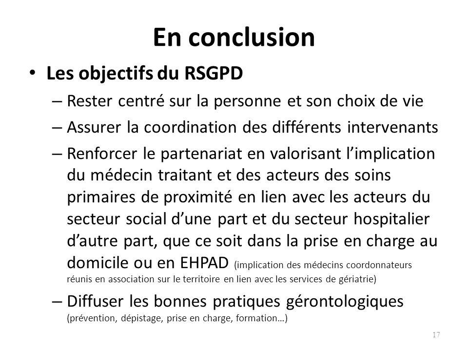 En conclusion Les objectifs du RSGPD