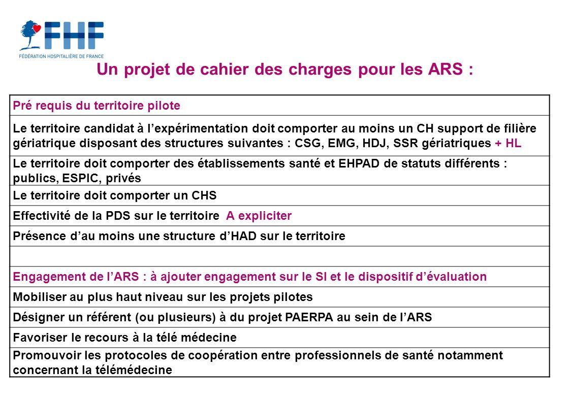 Un projet de cahier des charges pour les ARS :