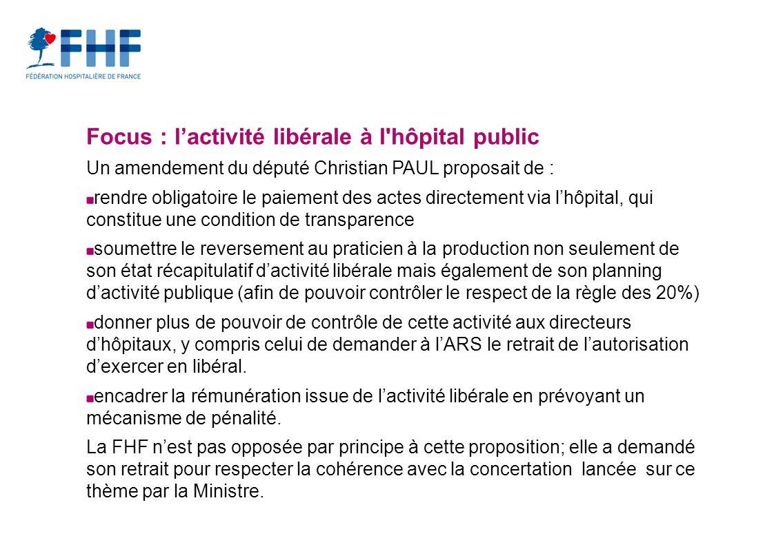 Focus : l'activité libérale à l hôpital public