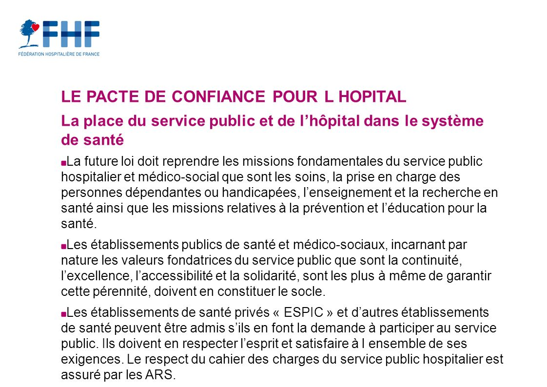 LE PACTE DE CONFIANCE POUR L HOPITAL
