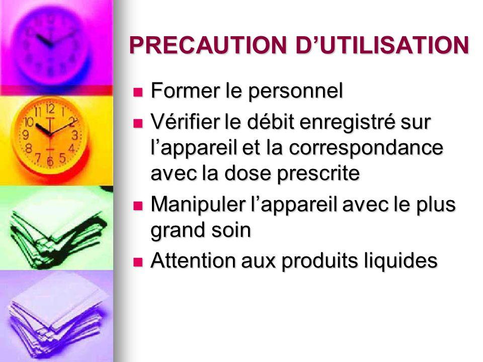 PRECAUTION D'UTILISATION