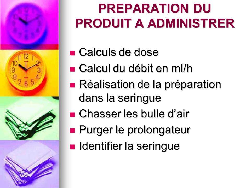 PREPARATION DU PRODUIT A ADMINISTRER