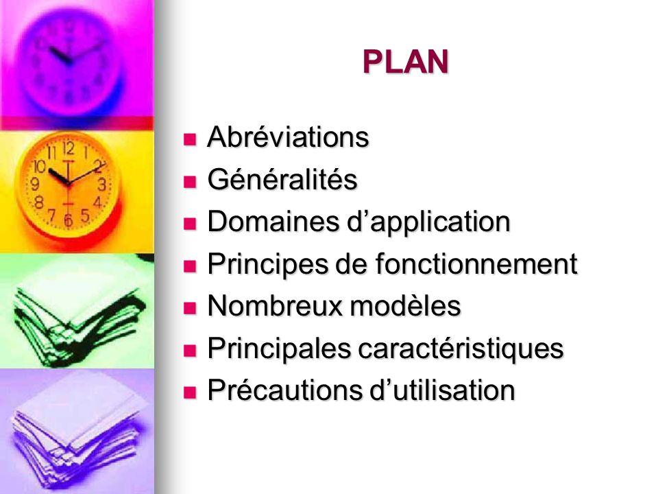 PLAN Abréviations Généralités Domaines d'application