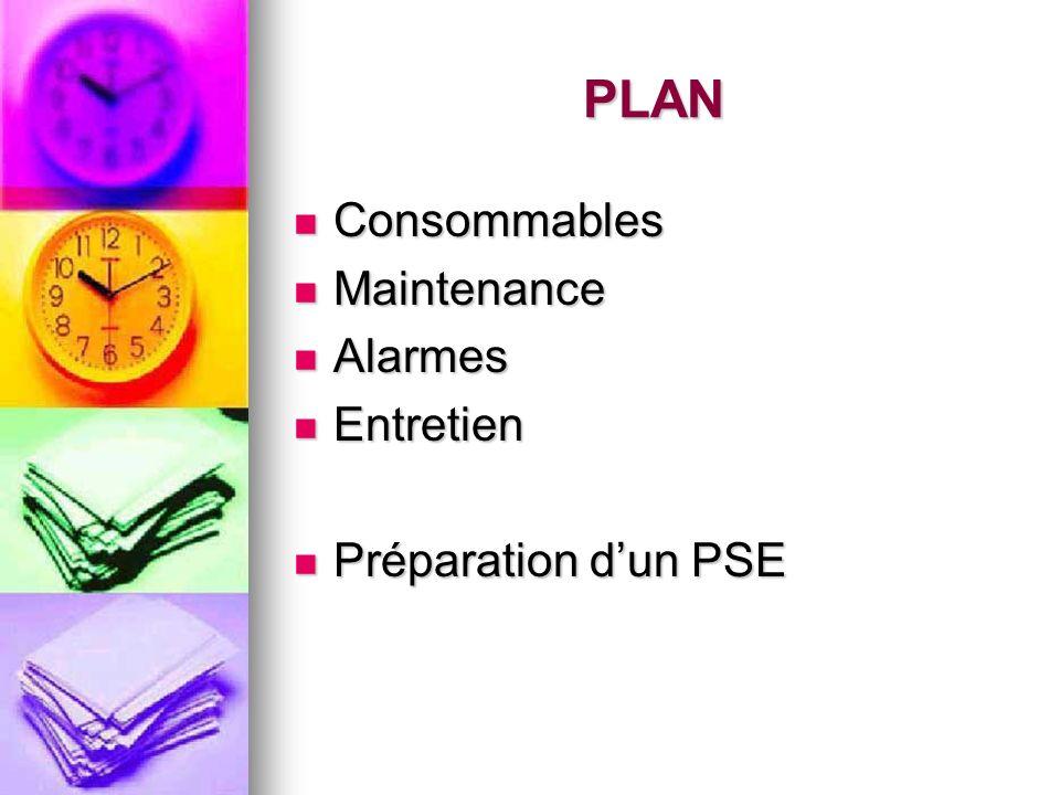 PLAN Consommables Maintenance Alarmes Entretien Préparation d'un PSE