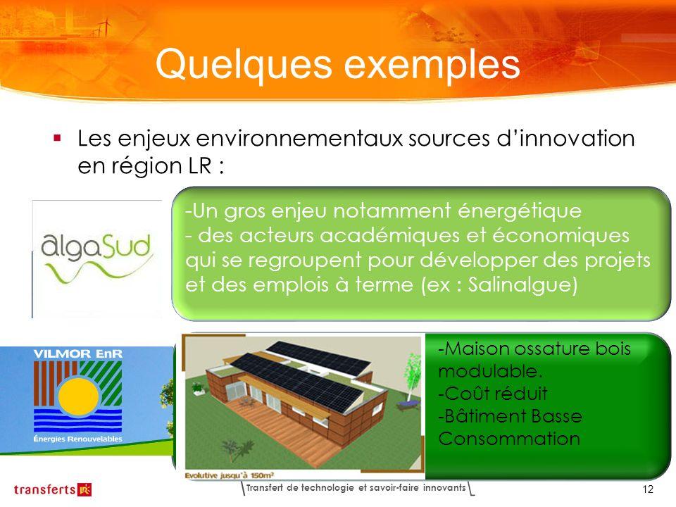 Quelques exemples Les enjeux environnementaux sources d'innovation en région LR : Un gros enjeu notamment énergétique.