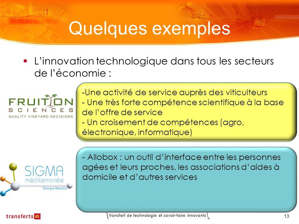 Quelques exemplesL'innovation technologique dans tous les secteurs de l'économie : Une activité de service auprès des viticulteurs.