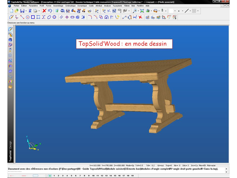 TopSolid'Wood : en mode dessin
