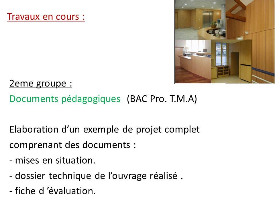 Travaux en cours : 2eme groupe : Documents pédagogiques (BAC Pro. T.M.A) Elaboration d'un exemple de projet complet.