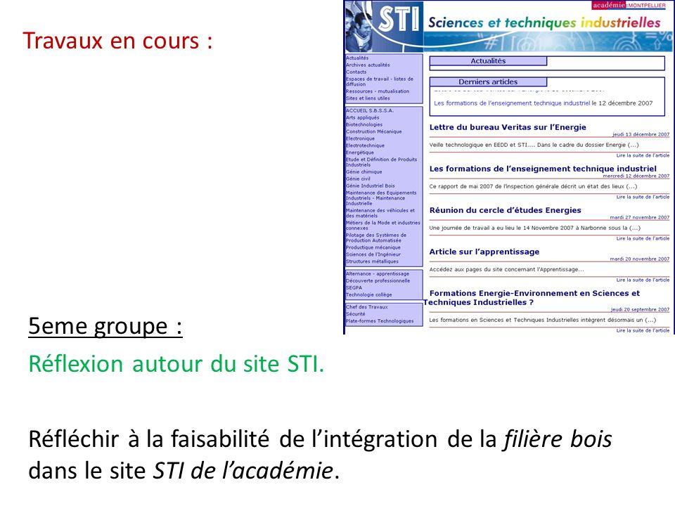 Travaux en cours : 5eme groupe : Réflexion autour du site STI.