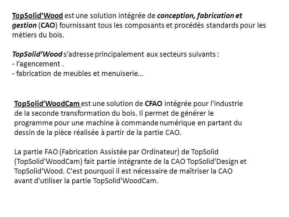 TopSolid'Wood est une solution intégrée de conception, fabrication et gestion (CAO) fournissant tous les composants et procédés standards pour les métiers du bois.