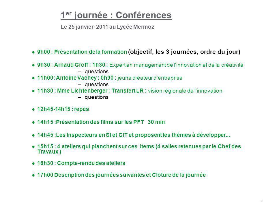 1er journée : Conférences