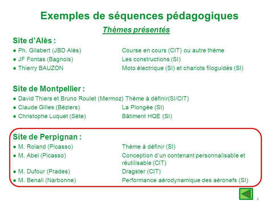 Exemples de séquences pédagogiques
