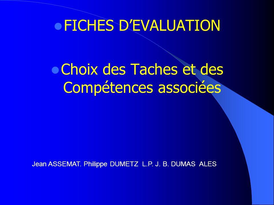 Choix des Taches et des Compétences associées
