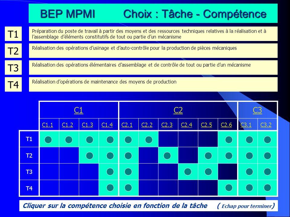 BEP MPMI Choix : Tâche - Compétence