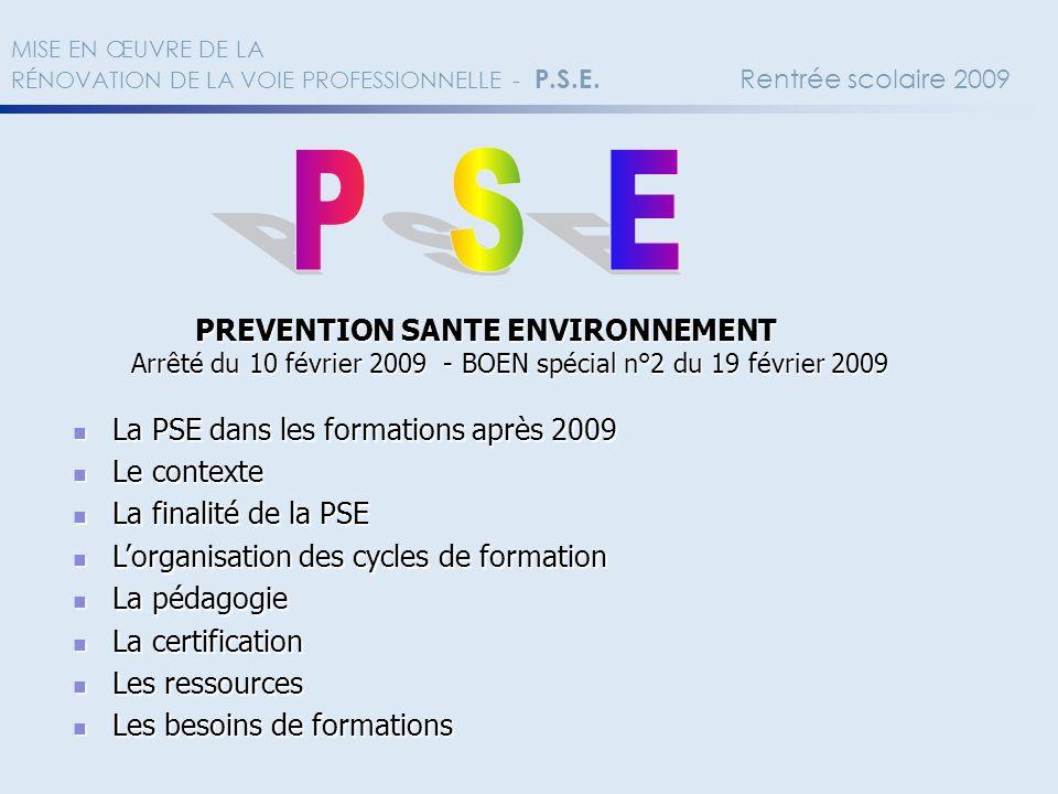P S E La PSE dans les formations après 2009 Le contexte