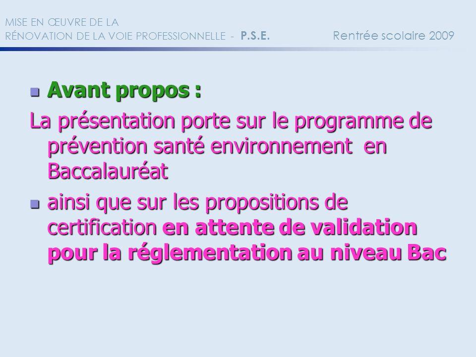 MISE EN ŒUVRE DE LA RÉNOVATION DE LA VOIE PROFESSIONNELLE - P. S. E
