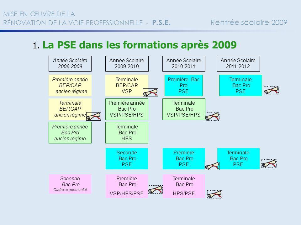 1. La PSE dans les formations après 2009