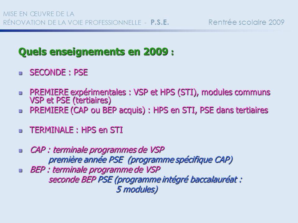 Quels enseignements en 2009 :