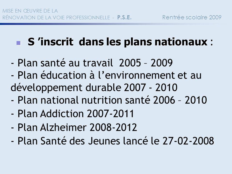 S 'inscrit dans les plans nationaux :