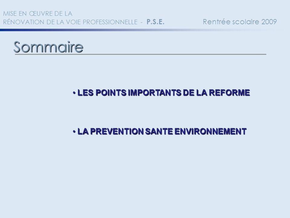 Sommaire LES POINTS IMPORTANTS DE LA REFORME