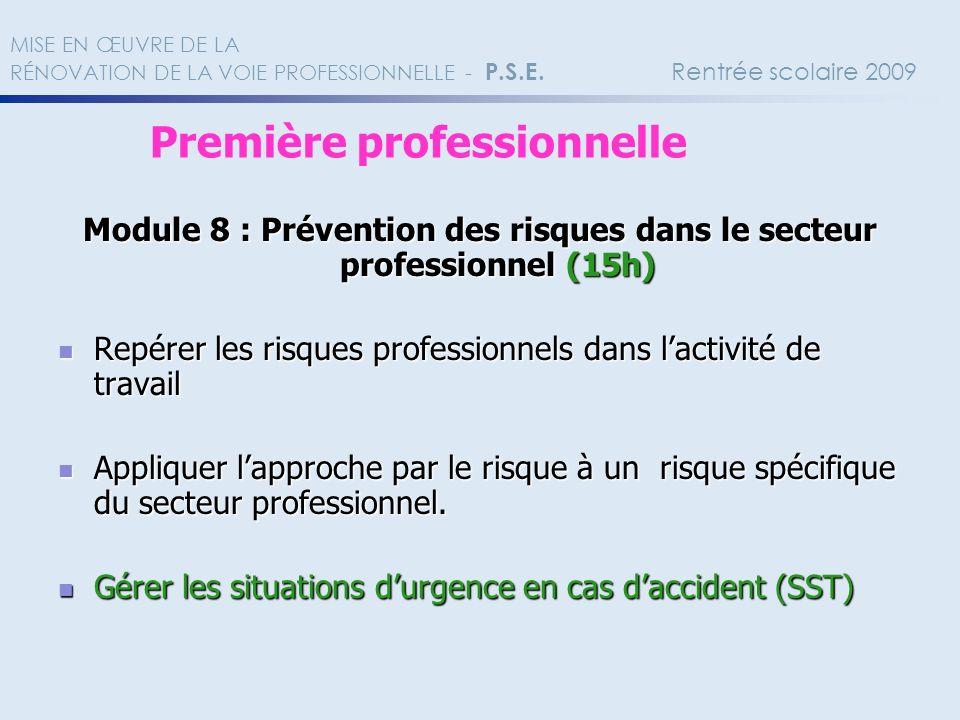 Module 8 : Prévention des risques dans le secteur professionnel (15h)