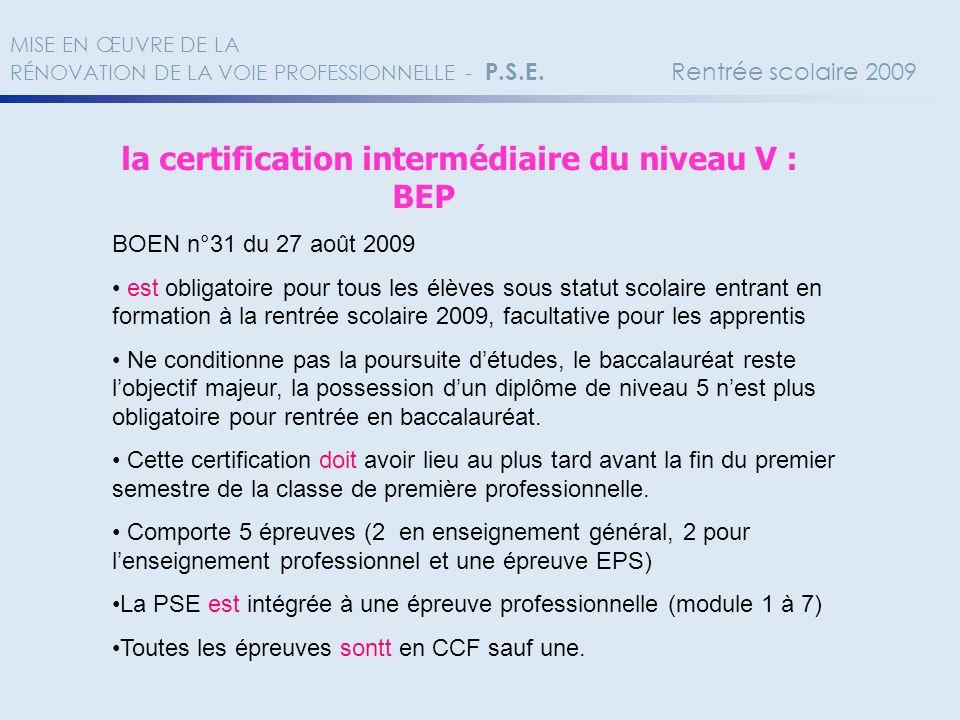 BEP la certification intermédiaire du niveau V :