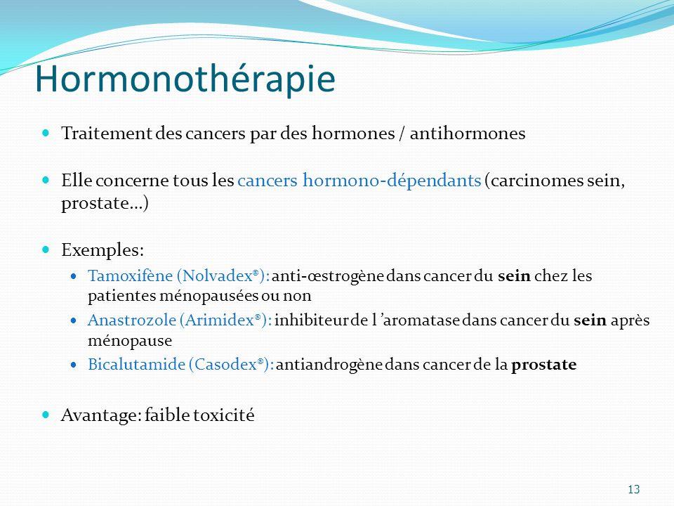 Hormonothérapie Traitement des cancers par des hormones / antihormones