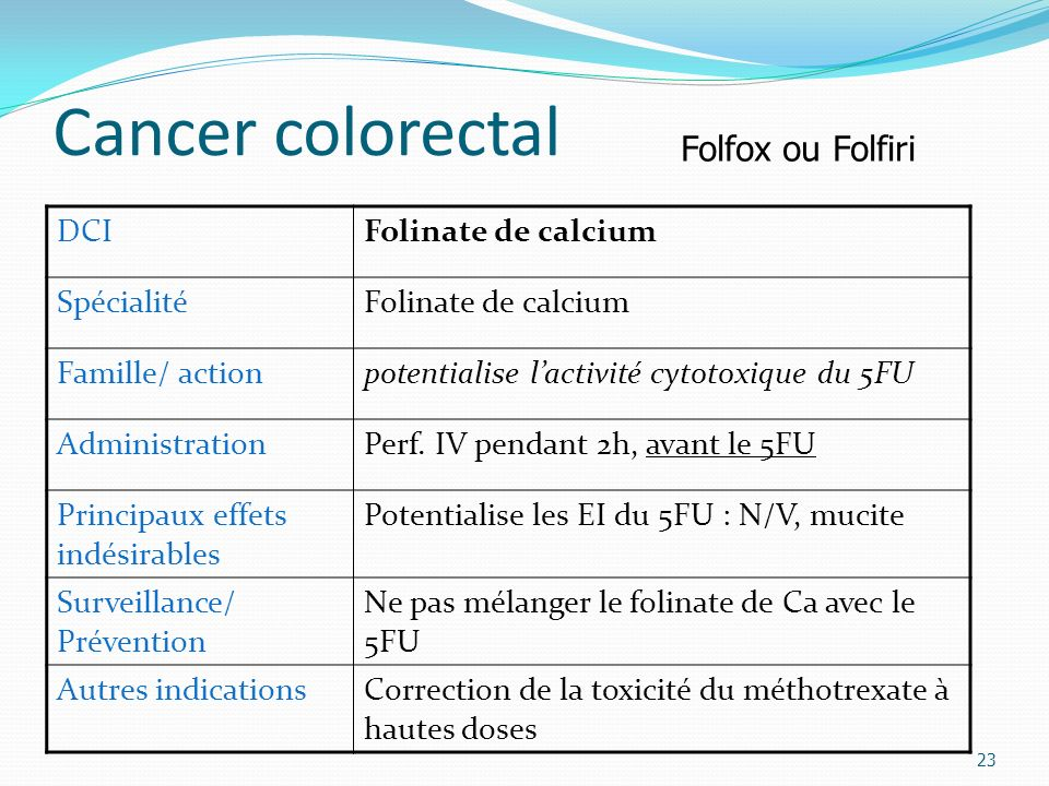 Cancer colorectal Folfox ou Folfiri DCI Folinate de calcium Spécialité