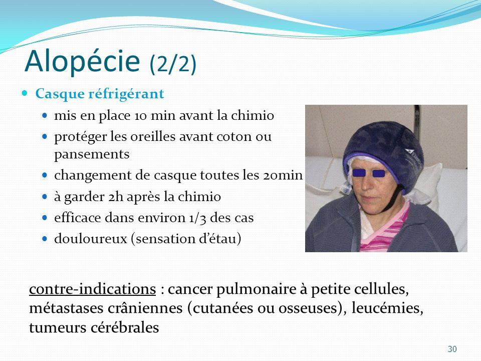 Alopécie (2/2) Casque réfrigérant. mis en place 10 min avant la chimio. protéger les oreilles avant coton ou pansements.