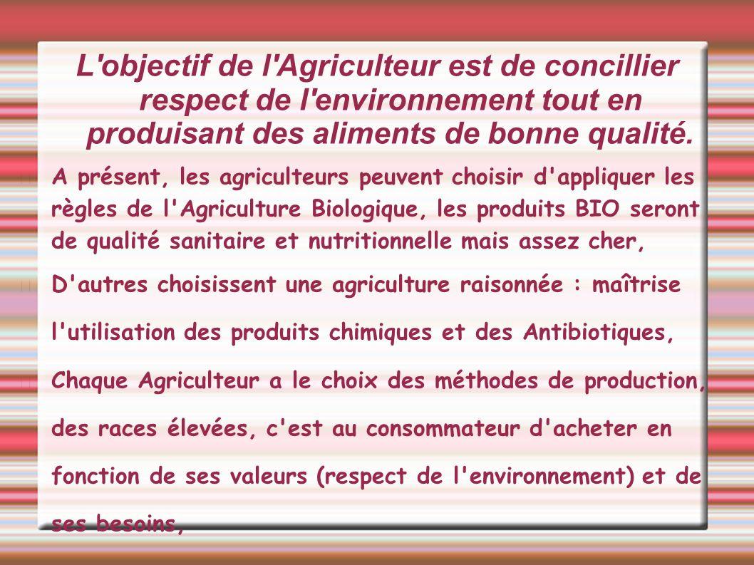 L objectif de l Agriculteur est de concillier respect de l environnement tout en produisant des aliments de bonne qualité.