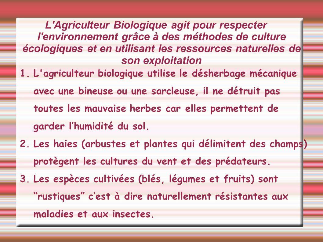 L Agriculteur Biologique agit pour respecter l environnement grâce à des méthodes de culture écologiques et en utilisant les ressources naturelles de son exploitation