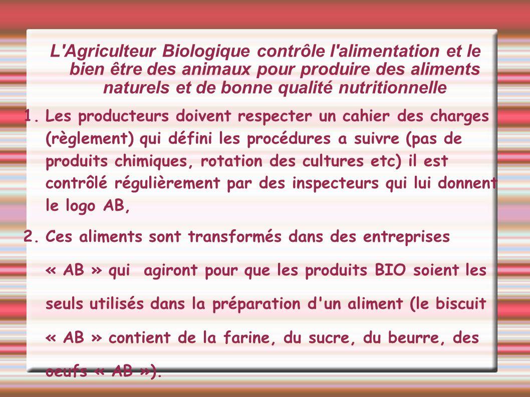 L Agriculteur Biologique contrôle l alimentation et le bien être des animaux pour produire des aliments naturels et de bonne qualité nutritionnelle