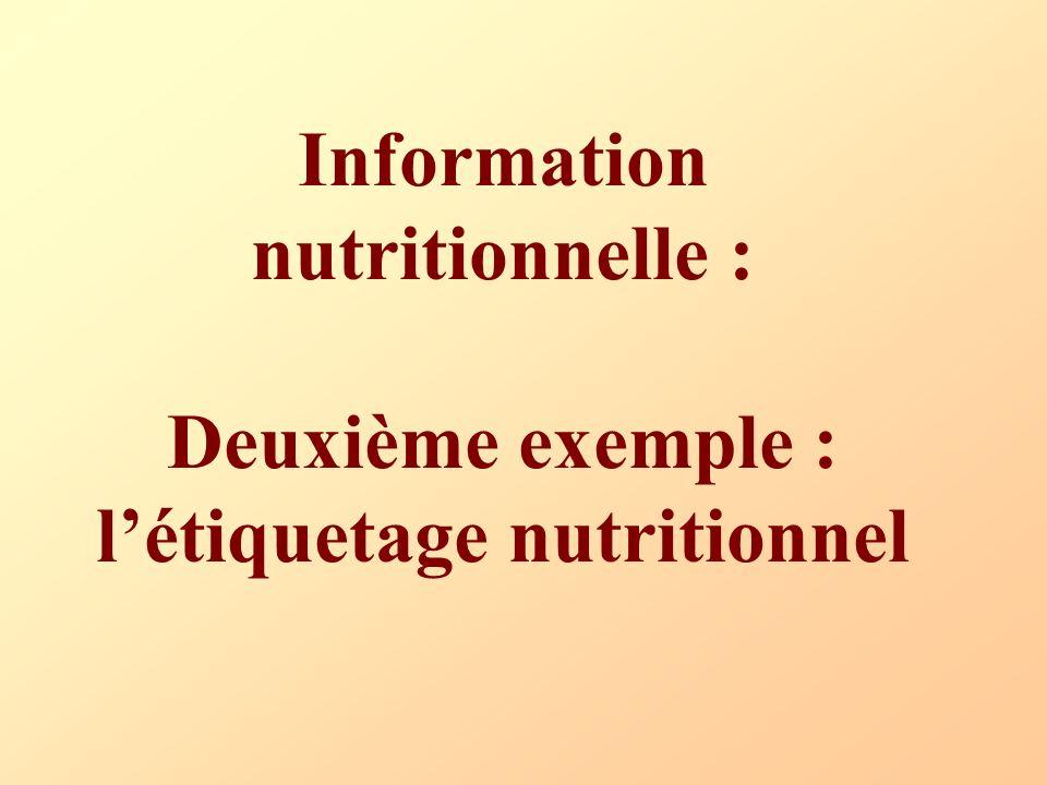 Information nutritionnelle : Deuxième exemple : l'étiquetage nutritionnel