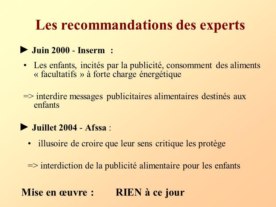 Les recommandations des experts