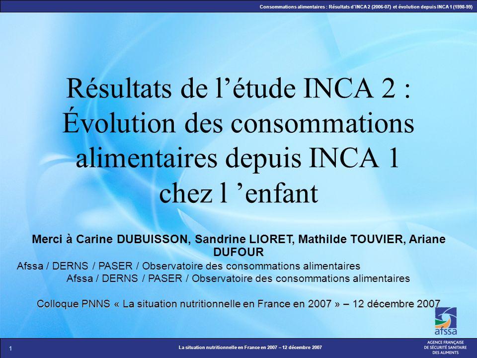 Résultats de l'étude INCA 2 : Évolution des consommations alimentaires depuis INCA 1 chez l 'enfant