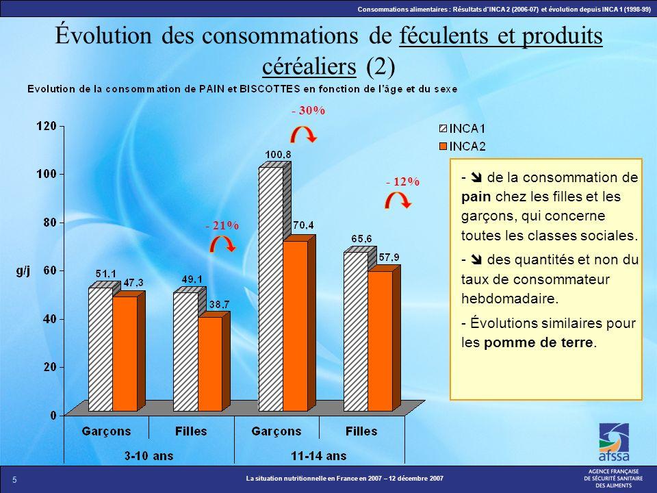 Évolution des consommations de féculents et produits céréaliers (2)